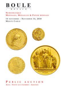 catalogue vente numismatique maison boule monaco